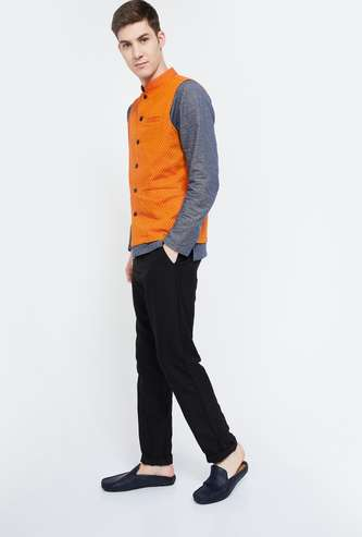 MELANGE Self-Designed Mandarin Collar Sleeveless Jacket