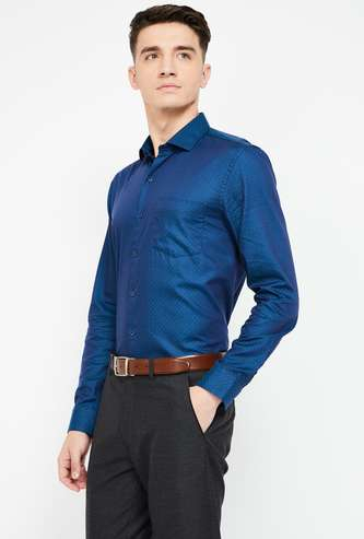 CODE Dobby Patterend Slim Fit Formal Shirt