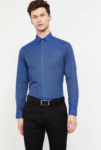 CODE Dobby Patterned Slim Fit Formal Shirt