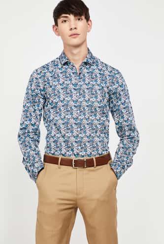 CODE Floral Print Full Sleeves Slim Fit Shirt