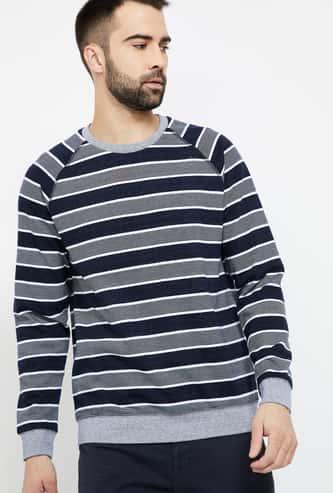 FAME FOREVER Striped Crew Neck Sweatshirt
