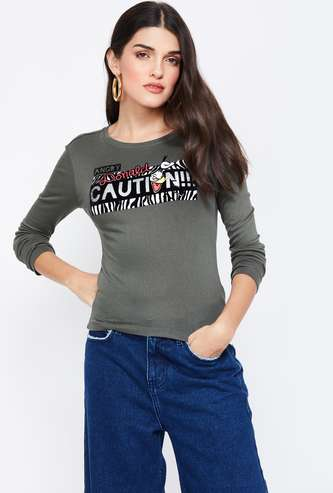 GINGER Printed Regular Fit Round Neck T-shirt