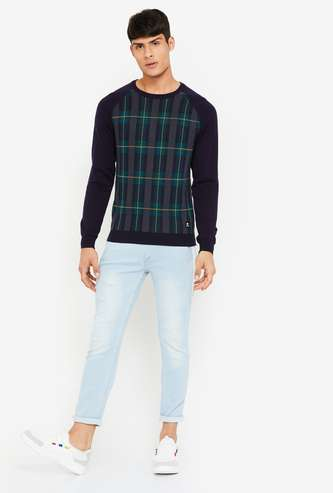 BOSSINI Checked Raglan Sleeves Sweater