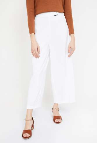 CODE Solid Cropped Palazzos with Belt