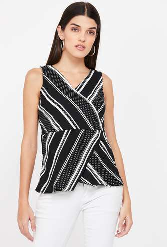 CODE Surplice Neck Striped Regular Fit Sleeveless Top
