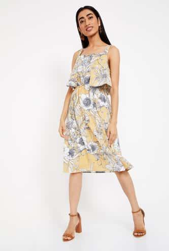 MS TAKEN Floral Print Sleeveless Midi Dress