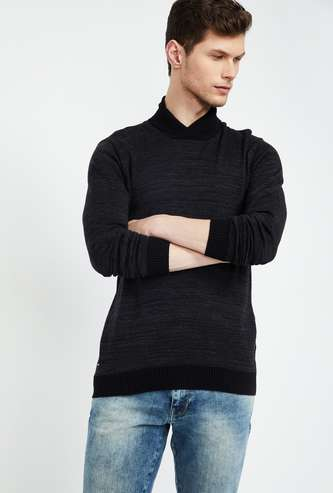 FORCA Textured Shawl Neck Sweater