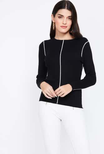 CODE Solid Round Neck Sweater