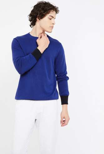 CELIO Solid Slim Fit Flat-Knit Pullover