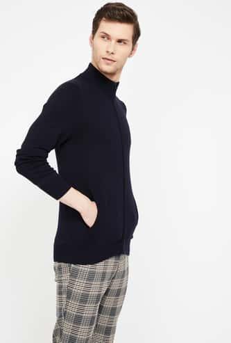 CELIO Solid Open-Front Sweatshirt