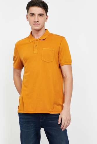 CELIO Solid Short Sleeves Slim Fit Polo T-shirt