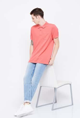 CELIO Textured Regular Fit Polo T-shirt