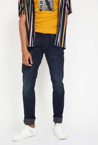 LOUIS PHILIPPE JEANS Matt Dark Washed Slim Fit Jeans