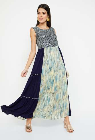LOBAANYA Printed Sleeveless Maxi Dress
