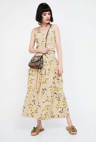 GINGER Floral Print Regular Fit Midi Skirt