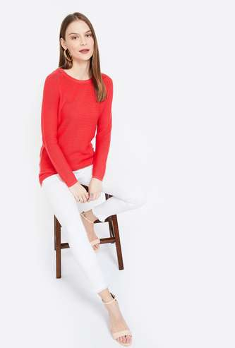 ALLEN SOLLY Textured Full Sleeves Regular Fit Sweater