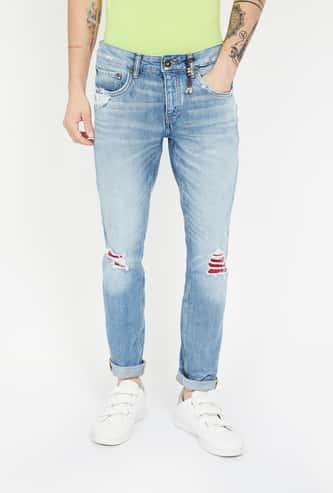 JACK & JONES Distressed Slim Straight Fit Jeans