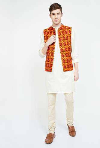 MELANGE Printed Buttoned Front Waistcoat