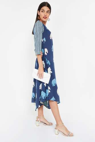 IMARA Handblock Print Midi Dress