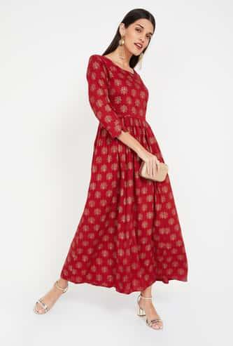IMARA Printed Flared Maxi Dress