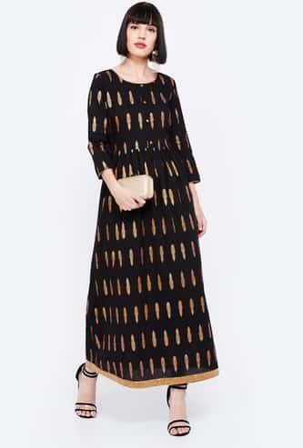 IMARA Foil Print Three-Quarter Sleeves Maxi Dress