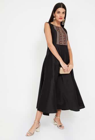 IMARA Embroidered Yoke Sleeveless Midi Dress