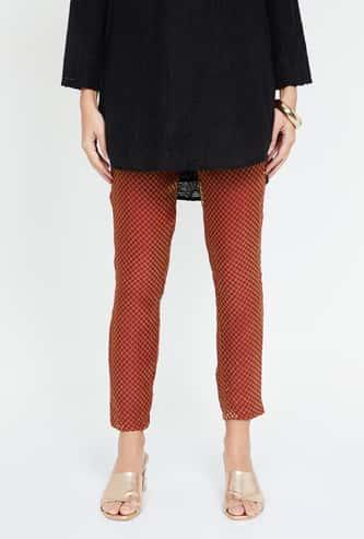 IMARA Jacquard Patterned Cropped Straight Pants