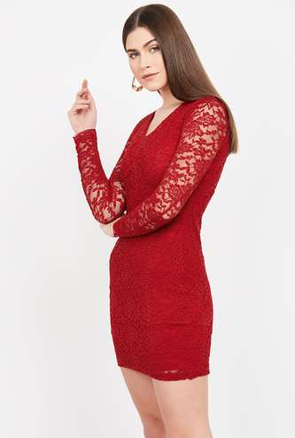 GINGER V-Neck Lace Overlay Bodycon Dress