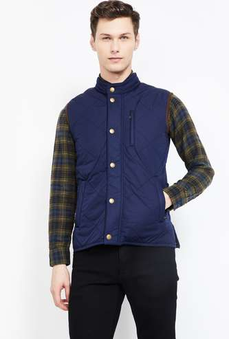 FAHRENHEIT Solid Sleeveless Quilted Bomber Jacket