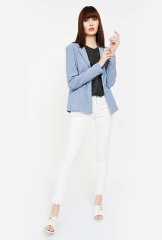 VAN HEUSEN Solid Single-Breasted Blazer