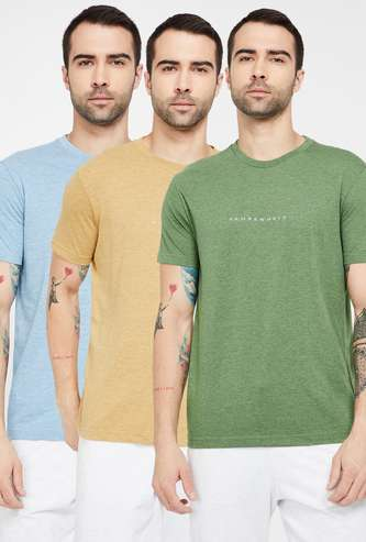 FAHRENHEIT Solid Slim Fit Crew Neck T-shirt - Pack of 3