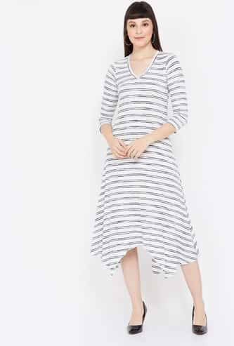 AND Striped Asymmetric Dress