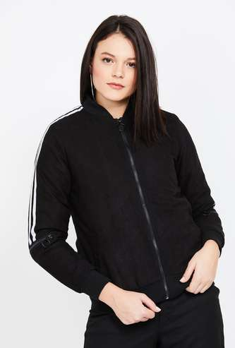 CAMPUS SUTRA Textured Zip-Front Jacket