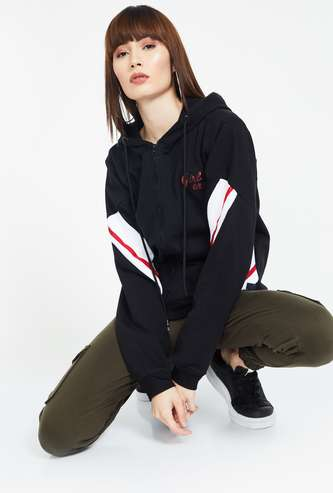 CAMPUS SUTRA Drop-Shoulder Zip-Front Hoodie