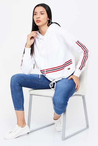 CAMPUS SUTRA Striped Hooded Sweatshirt