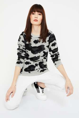 LEE COOPER Printed Round Neck Sweater