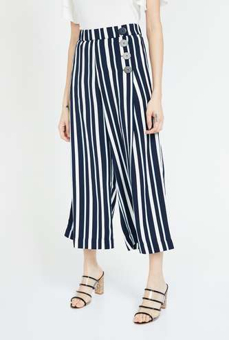 CODE Striped High-Rise Cropped Palazzos