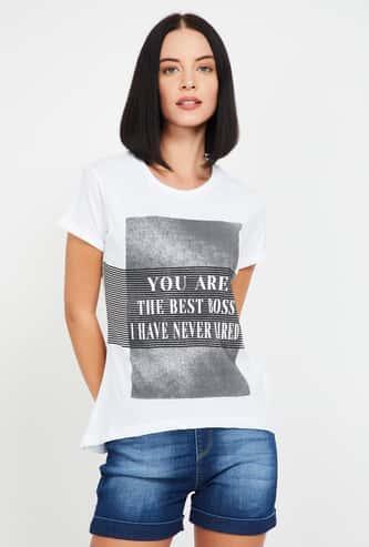 STATUS QUO Women Typographic Print Short Sleeves T-shirt