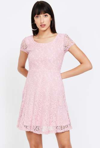 GINGER Lace Detailed Fit and Flare Dress