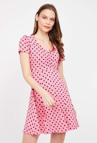 GINGER Printed Cap Sleeves A-line Dress