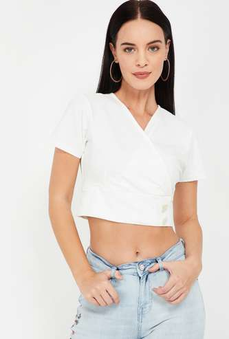 GINGER Surplice Neck Solid Crop Top