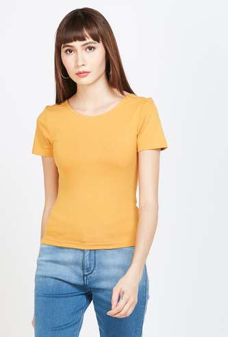 GINGER Solid Cap Sleeves T-shirt