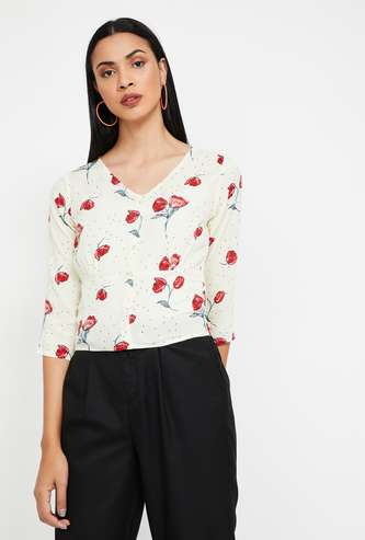 GINGER Floral Print V-neck Top