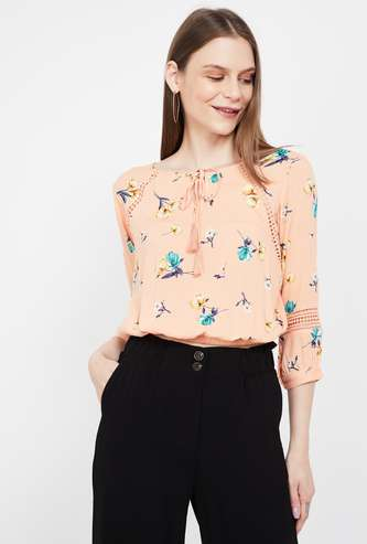 GINGER Floral Print Blouson Top with Lace Insets