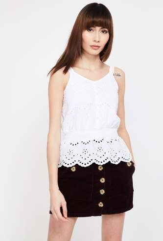 GINGER Embroidered V-Neck Top