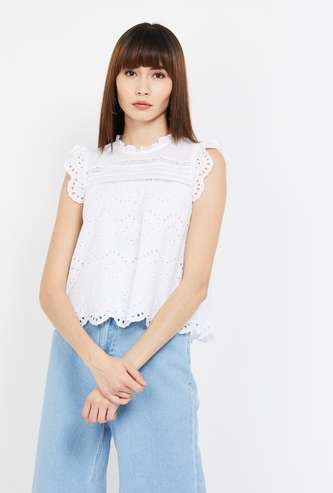 GINGER Schiffli Embroidery Sleeveless Top with Scalloped Hem
