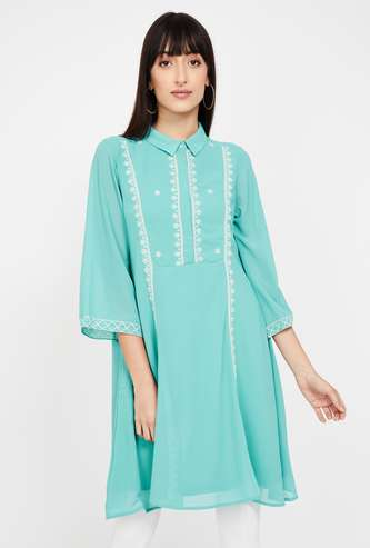AND Embroidered Three-quarter Sleeves Tunic