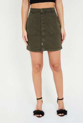 FAME FOREVER Solid Denim Skirt