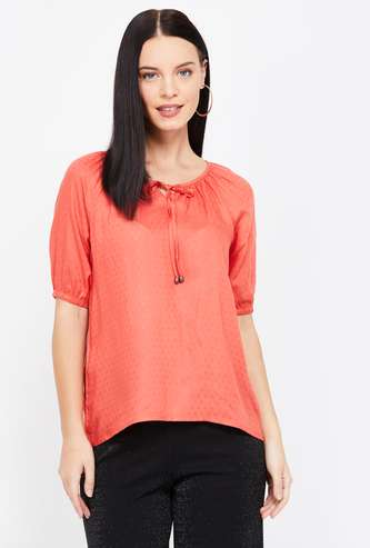 FAME FOREVER Patterned Weave Top with Raglan Sleeves