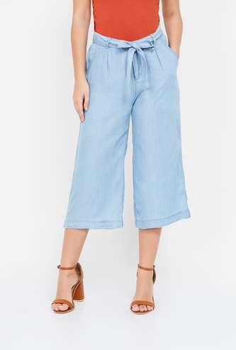 FAME FOREVER Solid Pleat-Front Culottes